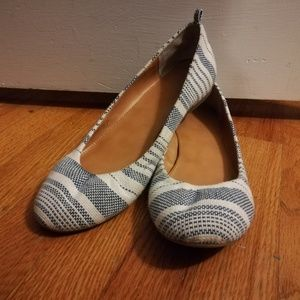 Nine West Navy and blue striped flats 9.5